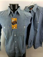 Vintage 1960s Sanforized Work Shirt Long Sleeve Blue NoS with Tags NwoT Lot of 2
