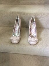 NEXT Nude Patent Court Shoes, Block Heel, Bow Detail, UK Size 5