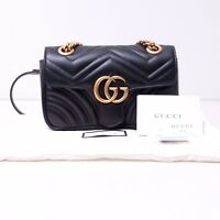 GUCCI 1590$ Authentic New Black Leather GG Marmont Matelassé Mini Shoulder Bag