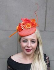 9f617884c0d41 Orange Sinamay Rose Feather Flower Fascinator Hat Hair Clip Races Wedding  6639