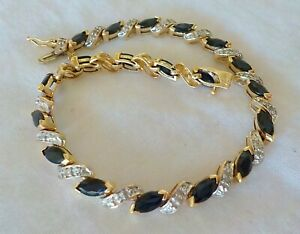 Estate 14K Yellow Gold Sapphire Diamond Bracelet - 11.4 grams, 7 inch, 3.03 ctw