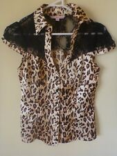 TALLY WEiJL Animal Leopard Print Silk Button Down Sexy Lace finish Shirt S/36/8