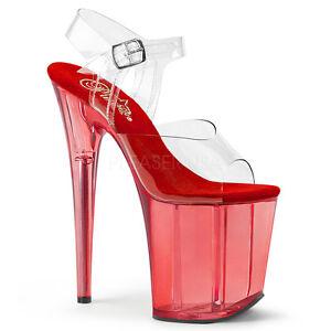 "Sexy Stripper Dancer 8"" High Heel Red Tinted Platform Ankle Strap Shoes Sandals"