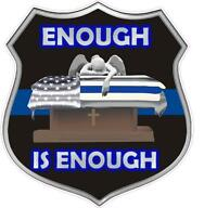 "Enough Saint Michael Blue Line Police Law Enforcement LE 4"" St. Decal Wall Car"
