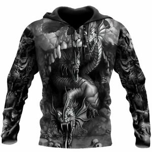 Black & White Skull And Dragon All Over Print Unisex Hoodie, Size S-5XL
