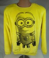 DESPICABLE ME Minion Yellow fuzzy fleece sweater Womens L Halloween Costume