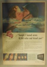 Gruen Watch Ad: Tonight I Leaned Across 10,000 Miles ! Tabloid Page from 1940's