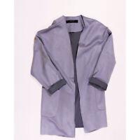 Zara Basic Collection Vegan Faux Suede Open Front Dove Gray Overcoat Jacket XS