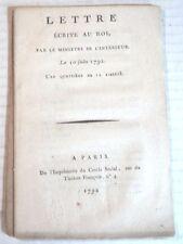 1792 Mme ROLAND: LETTRE ECRITE AU ROI, PAR MINISTRE DE L'INTERIEUR - REVOLUTION