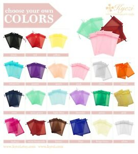 "2""x3"", 3""x4"", 4""X6"", 5""x7"" Choose Your Own Colors Sheer Drawstring Organza Bags"