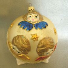 Beautiful!~Large Glass Ornament~Cherub Angels~Red Blue Gold Wings~Mica~Poland