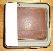 Fossil Leather Wallet Mens Bifold Brown Godfrey Brand New in Tin Box