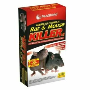 4 x Rodent Poison Block Bait Killer Strong Strength Rat & Mouse Control POISON