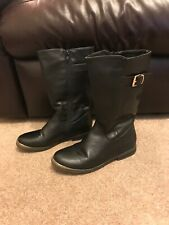Girls Black Faux Leather Knee High Boots Size 2