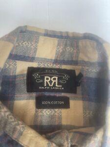 RRL Men's Plaid Cotton Flannel Long Sleeve Button Down Western Print Size M