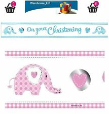 Christening Sweet Baby Elephant  Foil Banner Party Decoration Blue/Pink