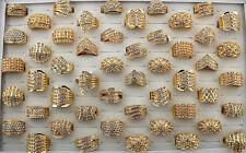 Job Lot 20pcs Full Crystal Rhinestone gold P wedding Party Huge Women Rings AA45