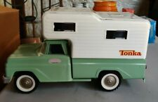 Green Tonka truck and camper 1960s great condition