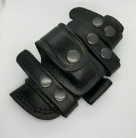 """Horizontal Scout Knife Sheath - BLACK -  Pouch Genuine Leather Up to 4.5"""" Blade"""