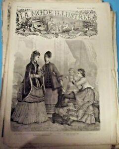 Ancienne Revue de Mode Illustrée 1871 n°6 Paletot frange de Marabout robe fille