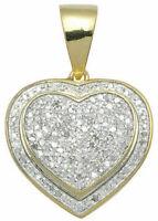 14k Yellow Gold Finish Ladies Round Diamond Dual Heart Love Pendant Charm 1.50ct
