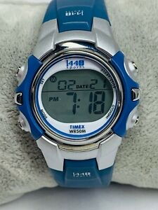 Women's Timex I440 Sports Watch T5J131 Blue WR 50M Indiglo, Silicone Band