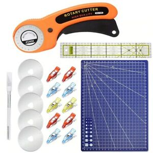 15Pcs 45mm Rotary Cutter Kit & Cutting Mat & Patchwork Ruler & Sewing Clips