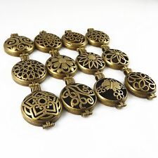 Retro Bronze Alloy Locket Essential Oil Aromatherapy Charms Pendant Crafts 12pcs