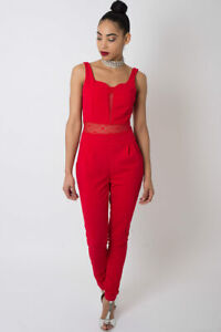 Womens Jumpsuit Ladies Red Lace insert Short Sleeve Top Trousers Playsuit