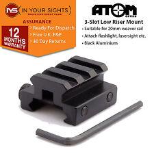 3 Slot weaver rail riser mount. Rifle scope riser mount. 20mm weaver rail riser
