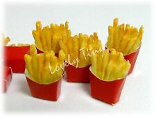 10 pieces of Dollhouse miniature French fries in Red bag, Free shipping cost