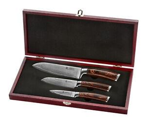 3er Damast Küchenmesser, 3er Damastmesser Set, Damast Kochmesser, Wakoli Edib