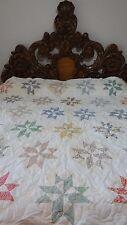 Great Vintage Unfinished Feed Sack Pinwheel Star Quilt #J313.