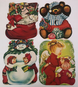 """Vintage Christmas Jolly Jumbo Card LOT Charlot Byi / Some 3 Have  Easels 8"""" High"""
