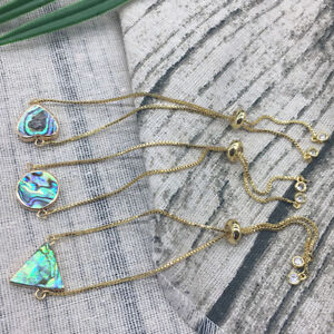 24K Yellow Gold Filled abalone Shell Adjustable Box Chain Bracelet