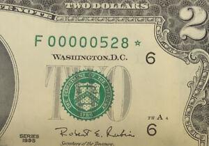 1995 $2 STAR Note LOW Serial number THREE DIGIT PCGS 65 PPQ ( F 00000528* )