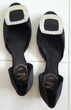 Authentic Roger VIVIER Chips Strass Silk Ballerina Flats Size 35 Black