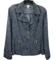 JM Collection Womens 18W Blue Jean Denim Button Jacket Long Sleeve Zip Pockets