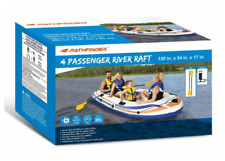 New Pathfinder 4 Person Inflatable Raft/Boat With Oars & Pump River Lake Raft