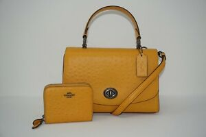 Coach Tilly Mustard Yellow Ostrich-Embossed Leather Satchel & Wallet F76619