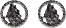 60142 Nautical Ship Stud Earrings Sourpuss Jewelry Gun Metal Pirate Sailor Ocean
