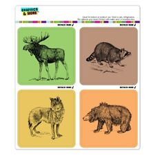 Home Décor Items New Refrigerator Magnet Wood Howling Wolf Wooden Handcrafted Gray White 3 High
