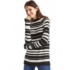 Gap Women's Black & White Striped Raglan Merino Wool Mockneck Sweater Size XS