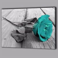 Back White Teal Rose Canvas Wall Art Picture Flower Floral Home Photo Decor