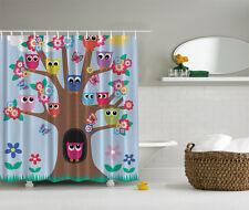"COLORFUL OWLS TREE FLOWERS 70"" Fabric Bathroom Shower Curtain"