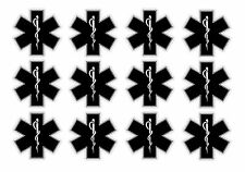 "Star of Life EMT Sticker Decal Pack Lot Black 2"" First Aid Kit Medical Star #99F"