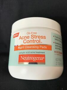 NEW SEALED Neutrogena Oil-Free Acne Stress Control Night Cleansing Pads (60 pc)