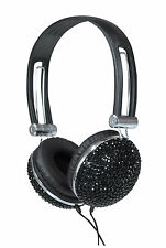 NEW Jersey Sound Corp.. BLACK crystal effetto elegante Bling Cuffie Stereo