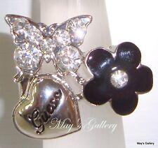 GUESS Jeans Handbag Rhinestones Heart Band Ring  Silver Rings NWT Size 8
