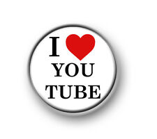 "I LOVE YOU TUBE 1"" / 25mm pin button / badge / internet / geek / nerd / funny"